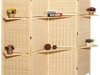MyGift Deluxe Woven Beige Bamboo 4 Panel Folding Room Divider Screen w Removable Storage Shelves