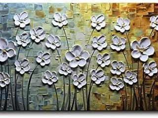 V inspire Paintings  24x48 Inch Paintings White Daisy Flower Oil Painting 3D Hand Painted On Canvas Abstract Artwork Art Wood Inside Framed Hanging Wall Decoration Abstract Painting