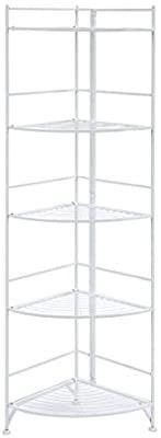 Convenience Concepts Xtra Storage 5 Tier Folding Metal Corner Shelf  White