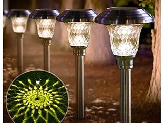 5 Pack Solar lights Bright Pathway Outdoor Glass Stainless Steel Waterproof Auto On off Wireless Sun Powered landscape lighting for Yard Patio Walkway NO SPIKES   TOPS ONlY