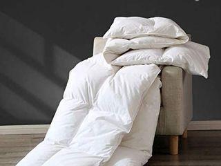 APSMIlE Premium All Seasons Goose Down Comforter Full Queen   100  Organic Cotton  45 Oz 650FP Medium Warmth Hypoallergenic Quilted Duvet Insert  90x90 Inches  White