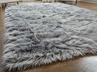GORIllA GRIP Original Premium Faux Fur Area Rug  3x5  Softest  luxurious Shag Carpet Rugs for Bedroom  living Room  luxury Bed Side Plush Carpets  Rectangle  Grey