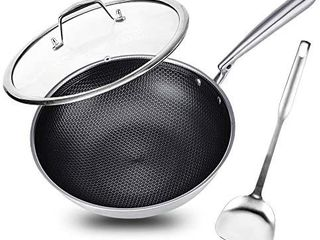 Potinv 12 5  Stainless Steel Wok  Nonstick Stir Fry Pan with lid and Spatula  Induction Compatible  Scratch Resistant  Dishwasher and Oven Safe
