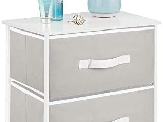 End Table Night Stand Storage Tower   Sturdy Steel Frame  Wood Top  Easy Pull Fabric Bins   Organizer Unit for Bedroom  Hallway  Entryway  Closets   Textured Print  2 Drawers   Cantaloupe White