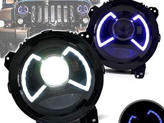 YUANZHENG 9  Full lED Headlights for  Jeep Wrangler 2018 2019 2020  NOT for JK  Head lamp Assembly with Dual Beam   Color Changing Blue to White DRls  YAA MR 0313  Driver   Passenger Side  US Stock