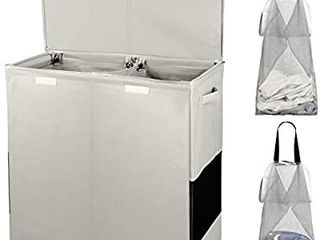 Double laundry Hamper with lid and Removable laundry Bags   2 Section Whole Body Detach   Washable Hamper