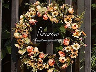 Floral Wreath  Door Wreath  Artificial Orange Wreath for Front Door