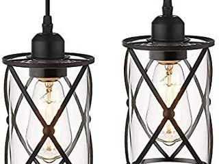 Osimir Industrial Pendant light  2 Pack Mini Glass Pendant light for Kitchen  Cage Pendant lighting
