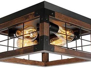 JHlBYl Farmhouse Wood Flush Mount Ceiling light