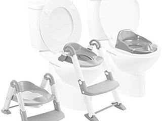 Babyloo Bambino Booster 3 in 1   Collapsible Toilet Training Step Stool assists Your Toddler to go While They Grow  Convertible Potty Trainer for All Stages Ages 1 4  Gray