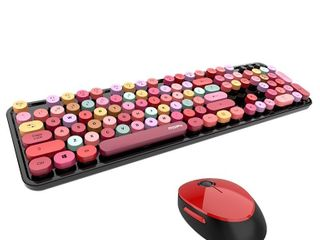 Sweet Mixed Color Cute Portable 2 4Ghz Wireless Keyboard and Mouse Set
