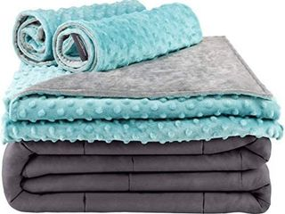 Secura Everyday luxury Premium Adult Weighted Blanket   Removable Green Minky Cover   2 Pillowcases  15 lbs 60 x 80 Queen Size  100  Cotton Material with Glass Beads