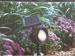 Two Black Portfilio Solar lED Spotlights