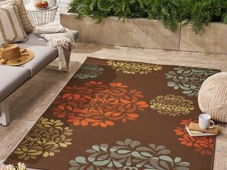8x10ft Brown Blue Henley Floral Area Rug
