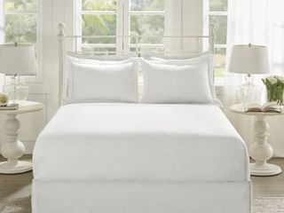 Madison Park Essentials Ruffled Solid Ruffled Bedskirt and Shams Set   Full
