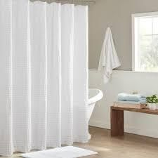 Madison Park White Waffle Textured Shower Curtain