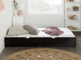 Black Solid Wood Trundle Bed