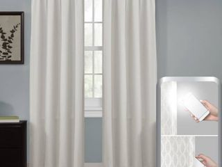 Maytex Smart Curtains Jamie 100 Percent Blackout Single Curtain Panel 50 x 84 linen