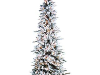 7 5ft Pre lit Flocked Pencil Pine Faux Tree