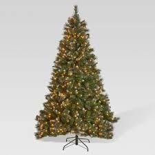 9ft Pre lit Faux Hinged Glitter Spruce Tree