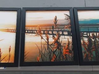 3 Piece Ocean Pier Sunset Art w  Black Frames