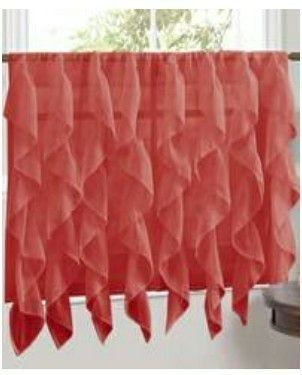 Burgundy Camel Vertical Ruffle Waterfall Valances