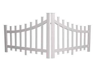 Xpanse Select Vinyl Railing 2 8 ft  x 4 ft  Corner Accent Fence