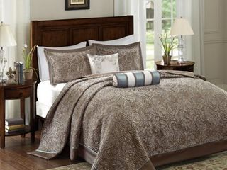 Madison Park Blue Jacquard Bedspread Set   King
