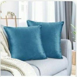 Two Nestl Teal Velvet Square Pillow Covers