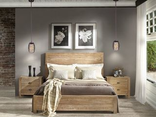 Grain Wood Furniture Montauk Full size Solid Wood Panel Bed Rustic Walnut Retail 517 49