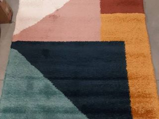 Jordan Modern Color Block Shag Area Rug