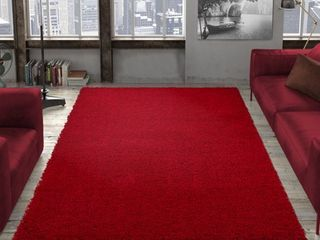 Red 7ft10 x 9ft10 Area Shag Rug