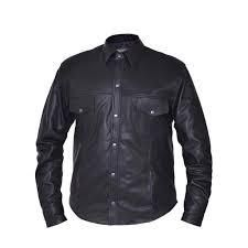 Mens 4Xl Black lightweight leather Shirt