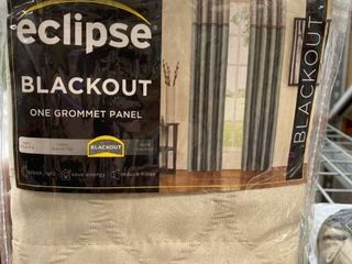 Eclipse Blackout One Grommet latte 52 x 63 Curtain Panels Set of 2