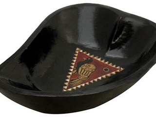 Handmade Paisley Shape Black Wooden Bowl