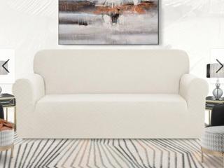 Enova Home Ultra Soft Rhombus Jacquard Polyester Spandex Fabric Box Cushion Armchair Slipcover   N A