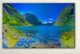 Panoramic View Of Norwegian Fjord  land