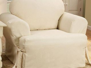Sure Fit Cotton Duck T Cushion Chair Slipcover   Natural