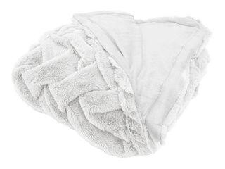 Modern Threads luxury Braided Faux Fur Throw  White