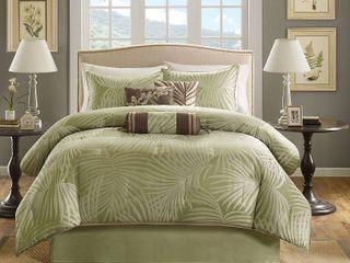 Key West 7 Piece Jacquard Comforter Set   Sage  Queen