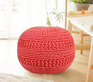 Grammercy Cotten Knit Round Pouf Ottoman