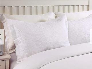 Beige Standard Porch   Den Manor Embroidered Pillow Sham  Set of 2