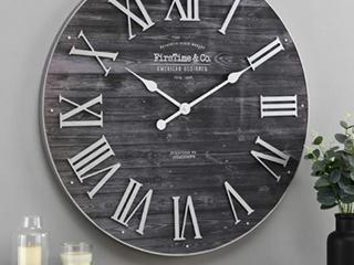 FirstToner   Co  Emmet Farmhouse Shiplap  Wall Clock