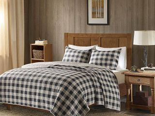 Woolrich Buffalo Check Gray Year Round Oversized Cotton Printed Quilt 3 Piece Set  Retail 81 99