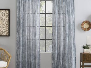 Set Of 2 96 x50  Bamboo Stripe Cotton Sheer Curtain Blue   Archaeo