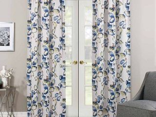 63 x37  Floral Paige Thermaweave Blackout Curtain Panel Blue Green   Eclipse