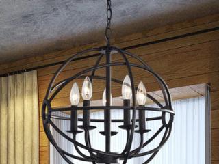 Benita 5 light Antique Black Metal Strap Globe Chandelier Retail 103 49