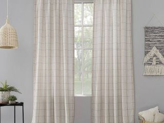 Set Of 2 Castille 54  x 84  Farmhouse Plaid Semi Sheer Curtain Panel
