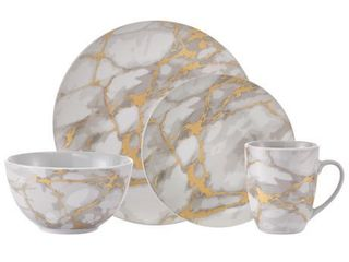 Safdie   Co  Dinnerset 16Pc Coupe Gold Marble Gold 16