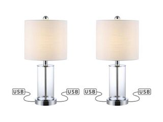 JONATHAN Y Abner 21 in  Chrome Glass Modern Contemporary USB Charging lED Table lamp